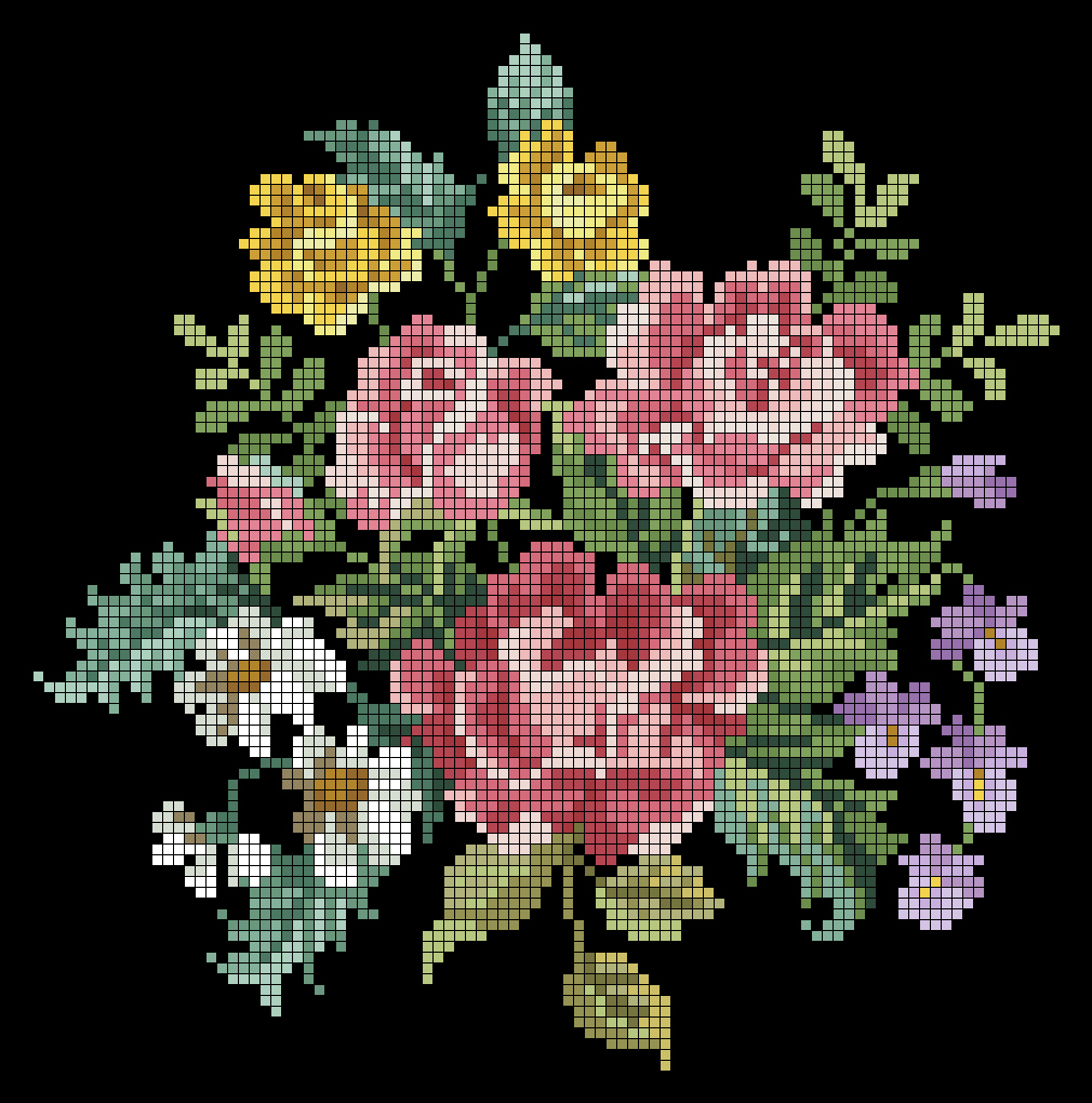 Вышивка красные цветы на черном фоне 57